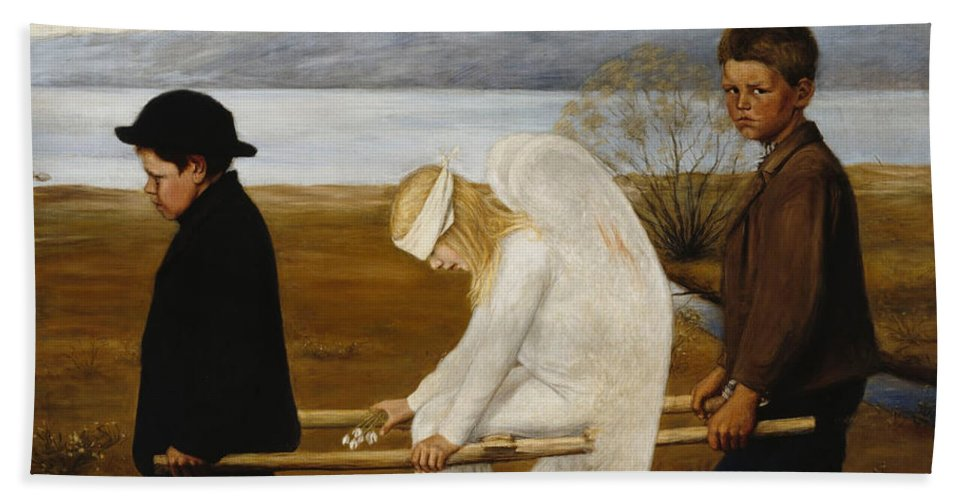 Wounded Angel Beach Towel featuring the painting The Wounded Angel by Hugo Simberg