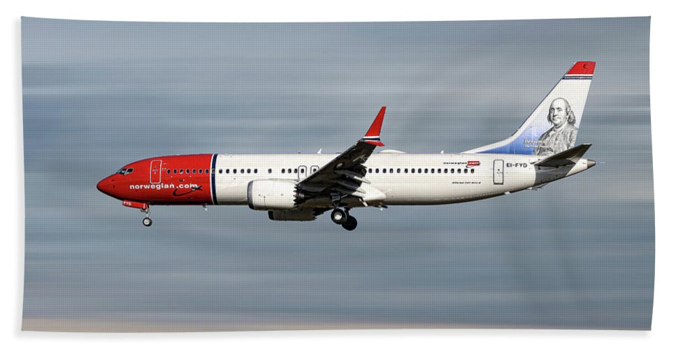 Norwegian Beach Sheet featuring the mixed media Norwegian Boeing 737 Max 8 by Smart Aviation