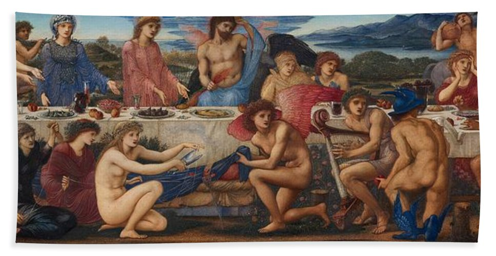 The Feast Of Peleus Beach Towel featuring the painting The Feast Of Peleus by Edward Burne-Jones