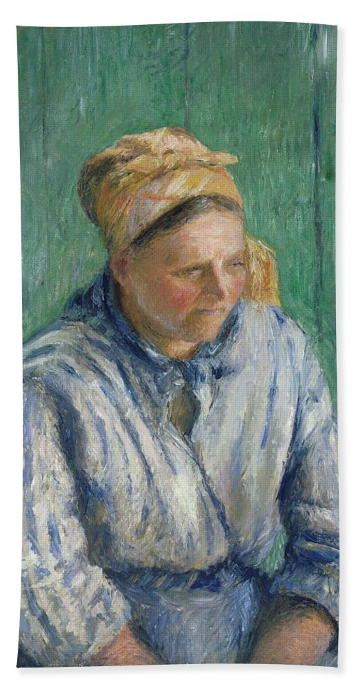Camille Pissarro Beach Towel featuring the painting Washerwoman Study by Camille Pissarro