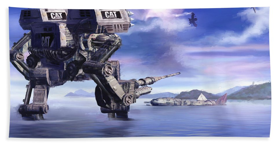 Science Fiction Beach Towel featuring the mixed media 501st Mech Defender by Curtiss Shaffer