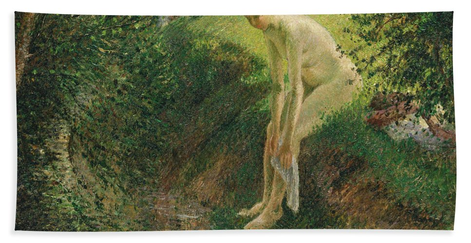 Camille Pissarro Beach Towel featuring the painting Bather In The Woods by Camille Pissarro