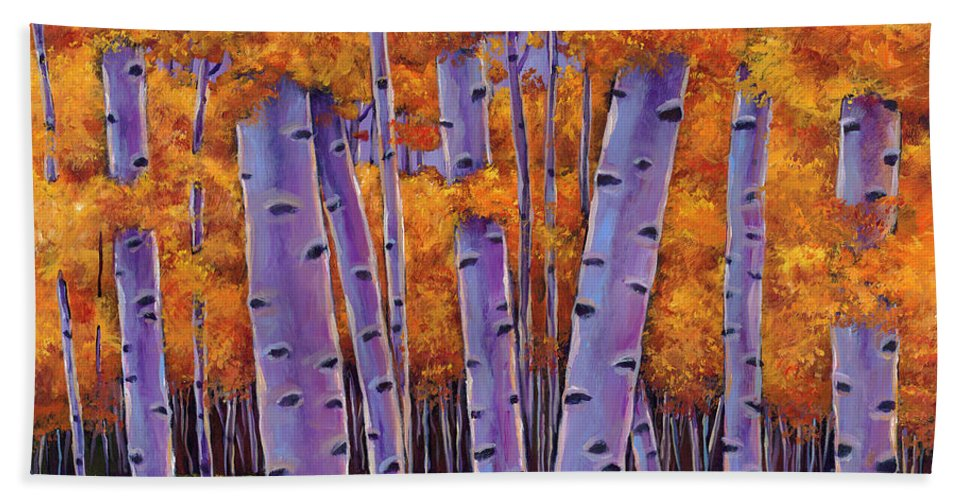 Aspen Trees Beach Towel featuring the painting A Chance Encounter by Johnathan Harris