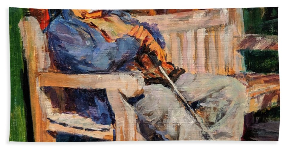 Beach Sheet featuring the painting A Place In The Sun by Peter Salwen
