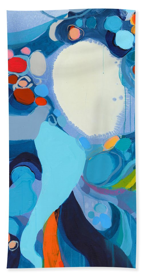 Abstract Beach Towel featuring the painting A Woman Named Emory by Claire Desjardins