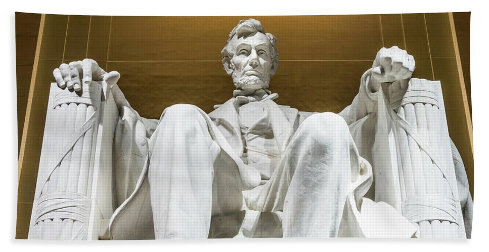 Washington Dc Beach Towel featuring the photograph Abraham Lincoln Square Format by Larry Marshall