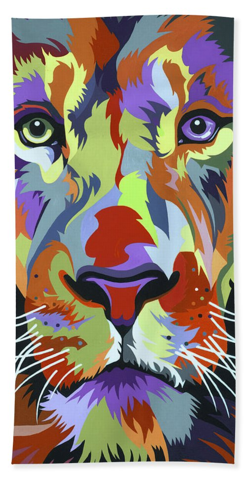 Lion Beach Towel featuring the painting African Lion by Jethro Longwe