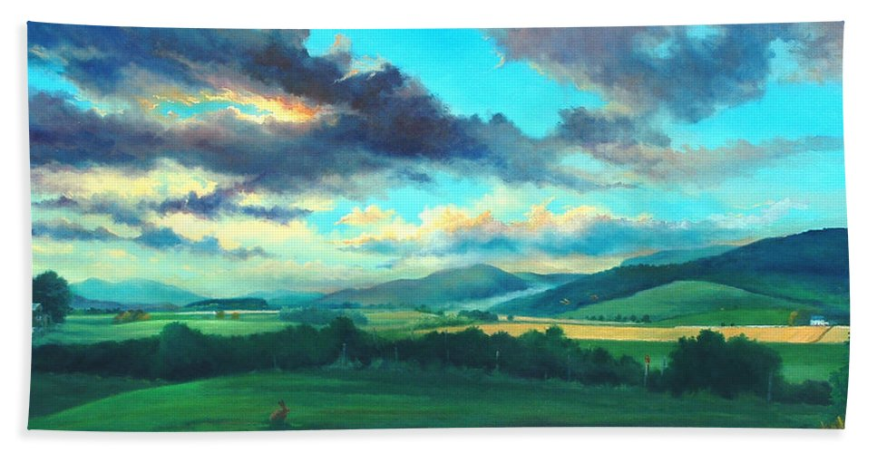 Scotish Beach Towel featuring the painting After The Storm by Ashley Jennings