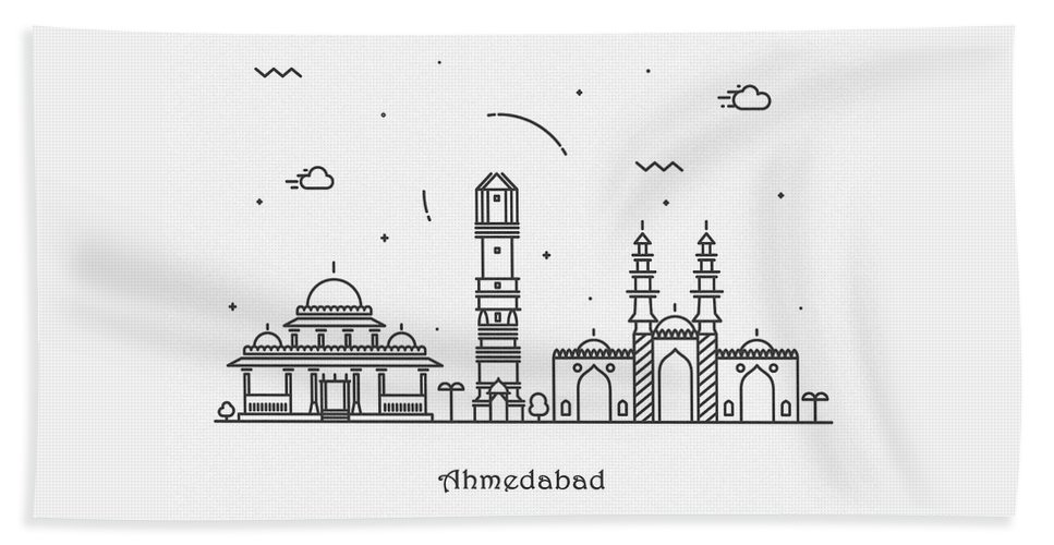 Ahmedabad Beach Towel featuring the digital art Ahmedabad Cityscape Travel Poster by Inspirowl Design