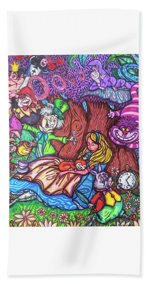 Sharpies Beach Towel featuring the drawing Alice In Wonderland by Janine Messenger