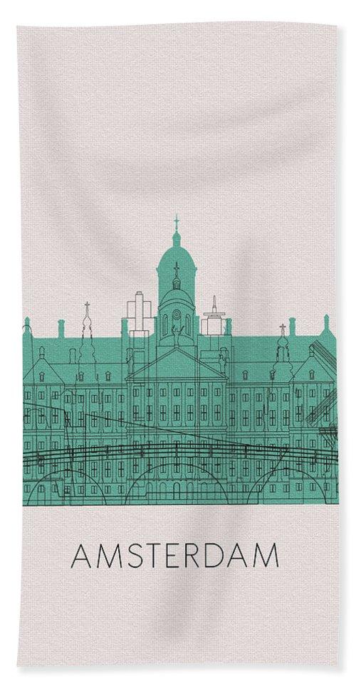 Amsterdam Beach Towel featuring the digital art Amsterdam Landmarks by Inspirowl Design
