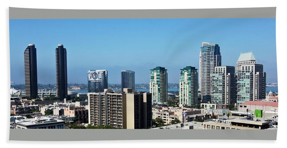 San Beach Towel featuring the photograph An Aerial View Of Downtown San Diego, Ca, Usa by Derrick Neill