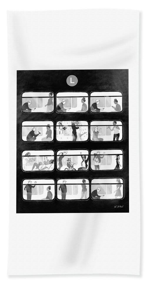 Train Beach Sheet featuring the drawing An L Train Love Story by Will McPhail