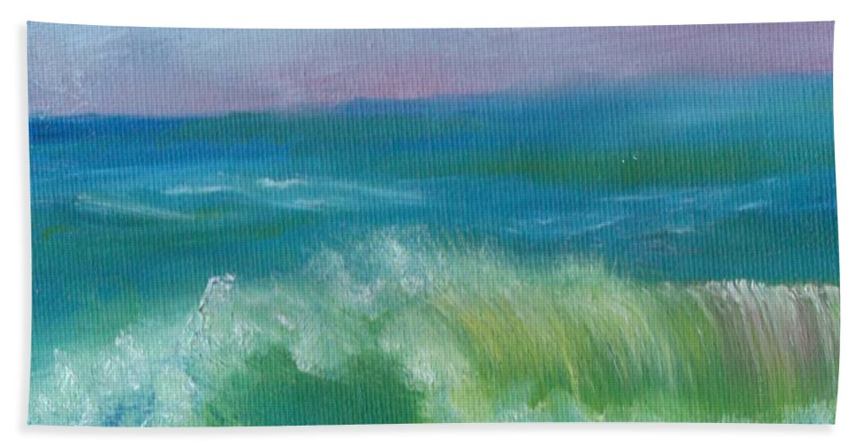 Seascape Beach Towel featuring the painting An Ocean Wave by Joanne Dour