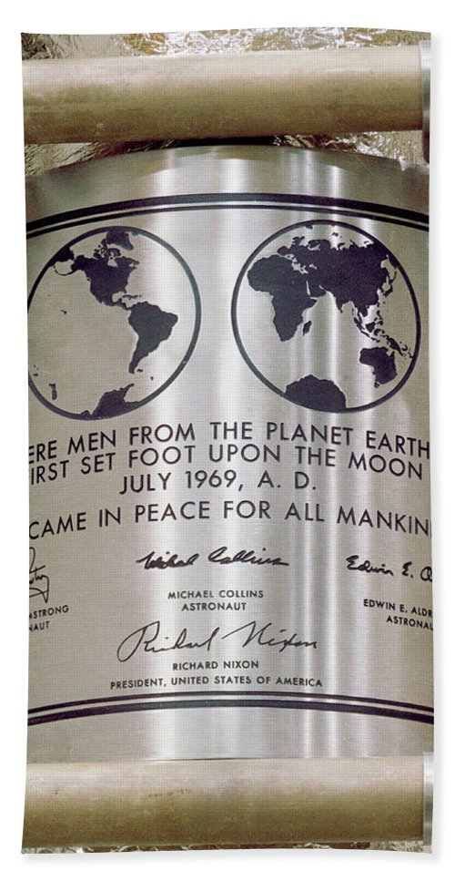Apollo 11 Beach Towel featuring the photograph Apollo 11, We Came In Peace For All by Science Source