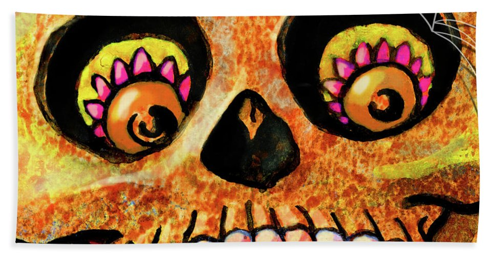 Day Of The Dead Beach Sheet featuring the painting Aranas Sugarskull Of Spiders by Miko Zen