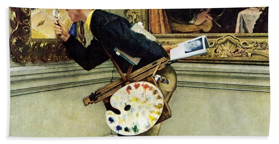 Artists Beach Towel featuring the drawing Art Critic by Norman Rockwell