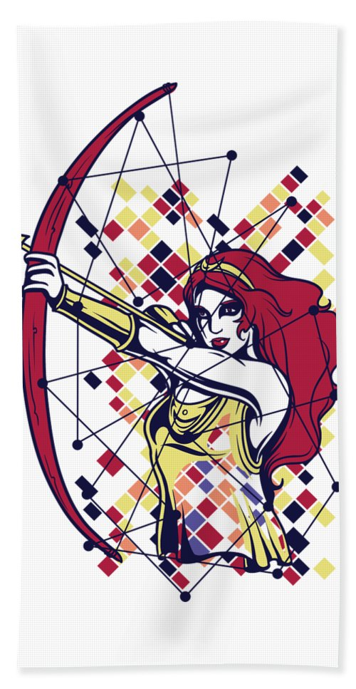 Greek-mythology Beach Towel featuring the digital art Artemis Greek Olympian Goddess Archery by Passion Loft