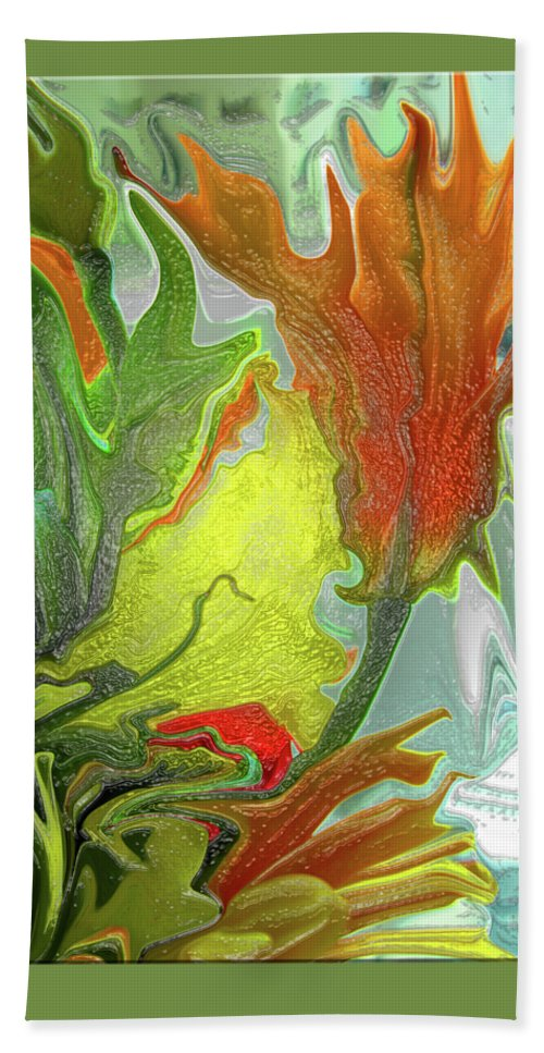 Abstract Beach Towel featuring the photograph Orange Tulip by Kathy Moll