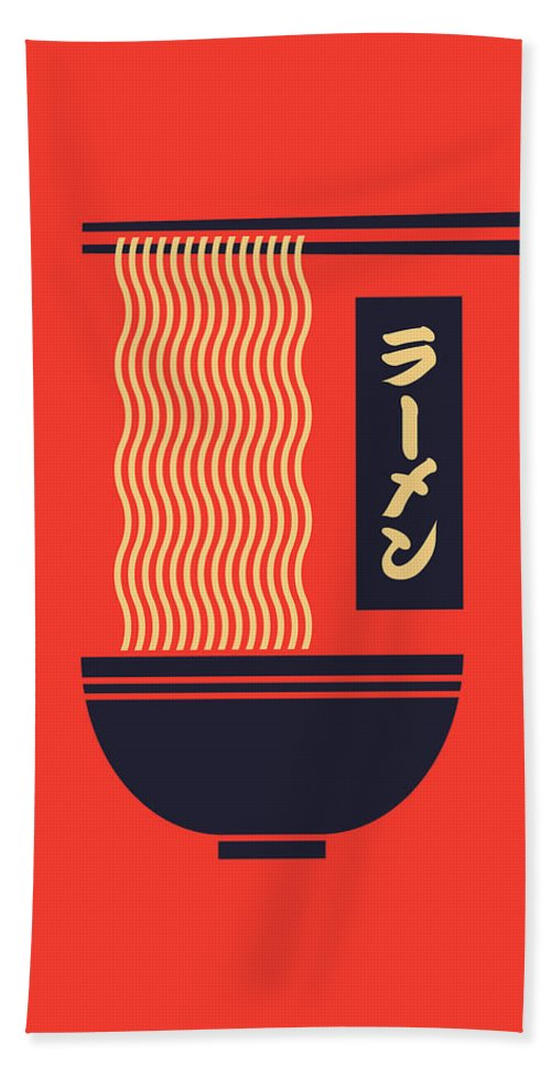 Ramen Beach Towel featuring the digital art Ramen Japanese Food Noodle Bowl Chopsticks - Red by Organic Synthesis
