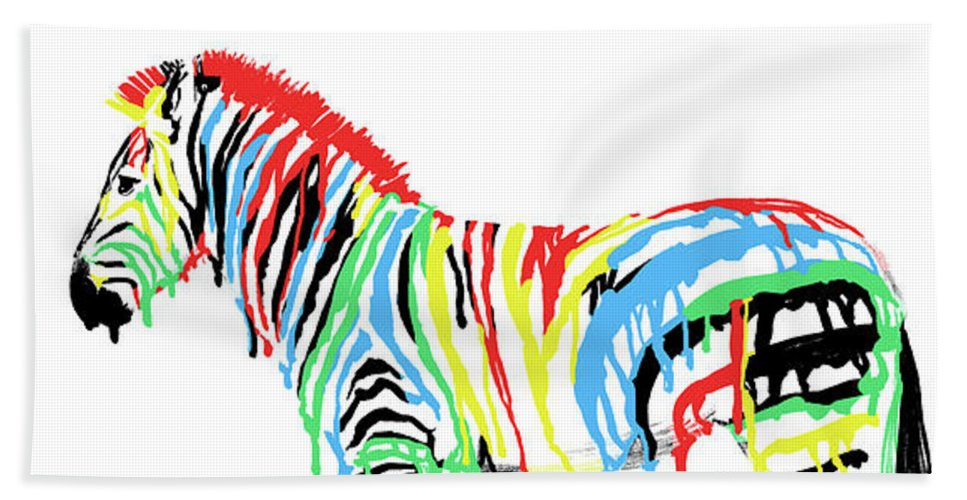 Zebra Beach Towel featuring the drawing Fresh Paint by Eric Fan