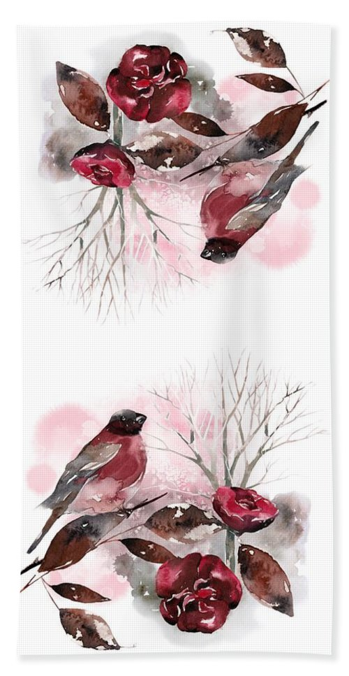 Bird Beach Towel featuring the painting Spring Rests In The Heart Of Winter by Little Bunny Sunshine