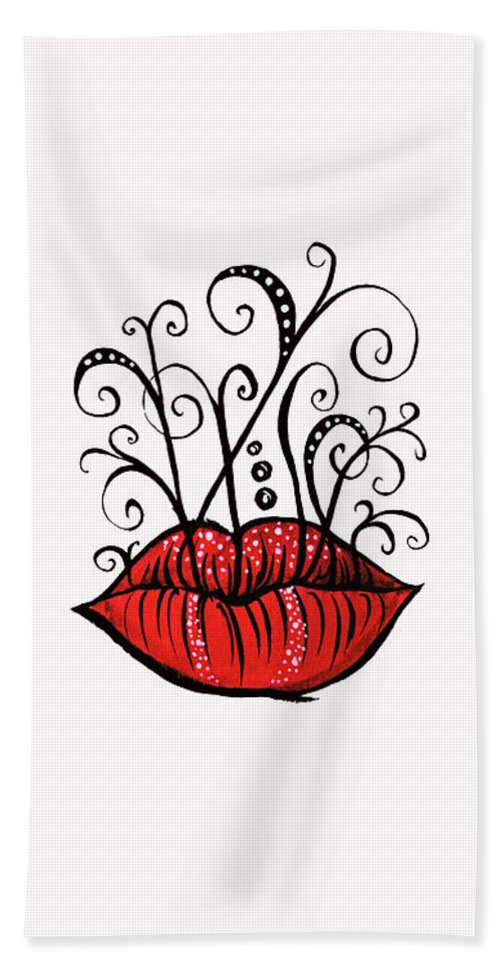 Weird Beach Towel featuring the drawing Weird Lips Ink Drawing Tattoo Style by Boriana Giormova