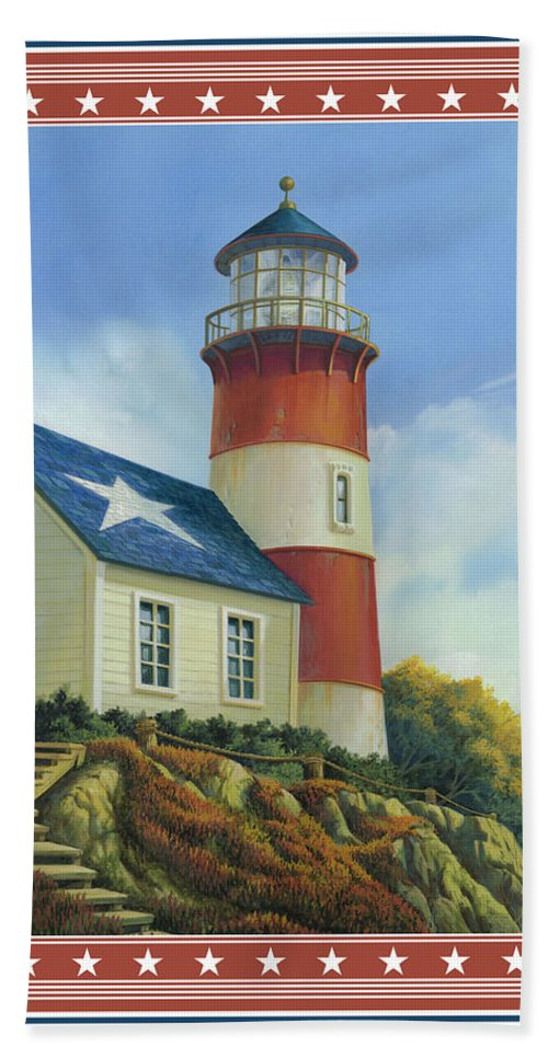 Michael Humphries Beach Towel featuring the painting Liberty's Light by Michael Humphries