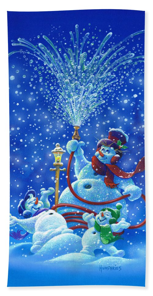 Michael Humphries Beach Towel featuring the painting Making Snow by Michael Humphries