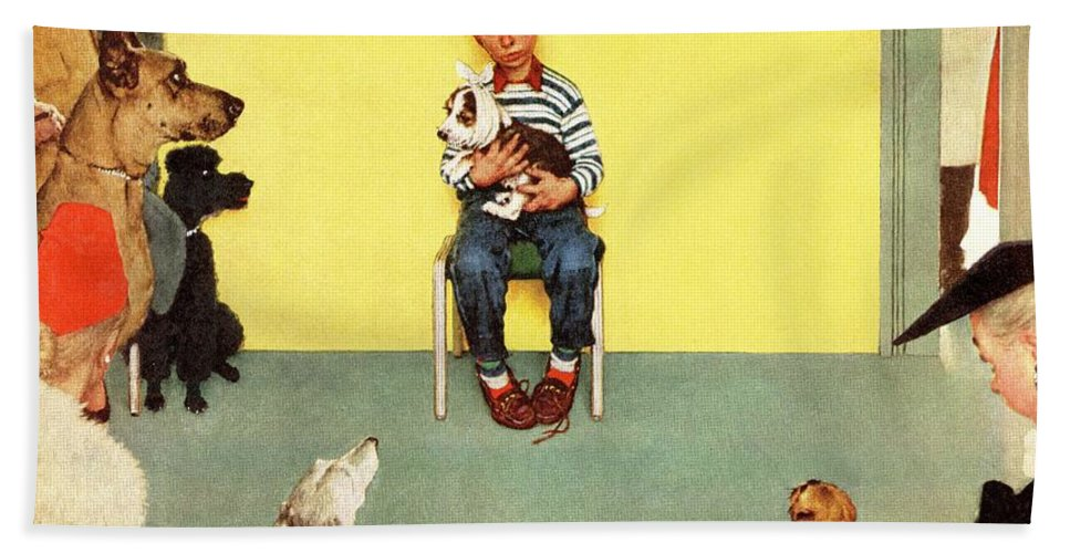 Boy Beach Towel featuring the drawing At The Vets by Norman Rockwell