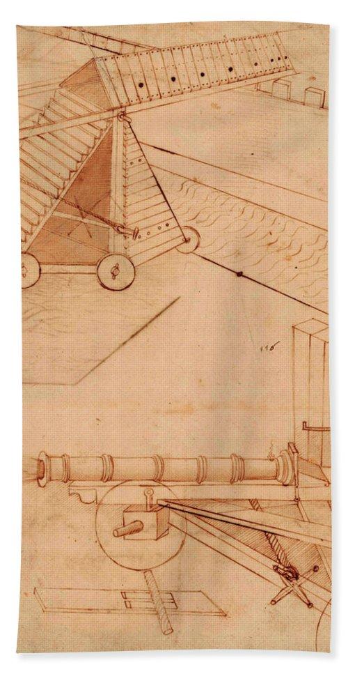 Siege Machine Beach Towel featuring the painting Atlantic Codex - Codex Atlanticus, F 49 Recto by Leonardo da Vinci