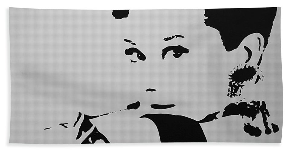 Audrey Hepburn Beach Towel featuring the photograph Audrey B W by Rob Hans