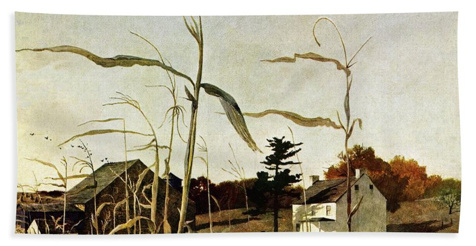 Autumn Beach Towel featuring the drawing Autumn Cornfield by Andrew Wyeth