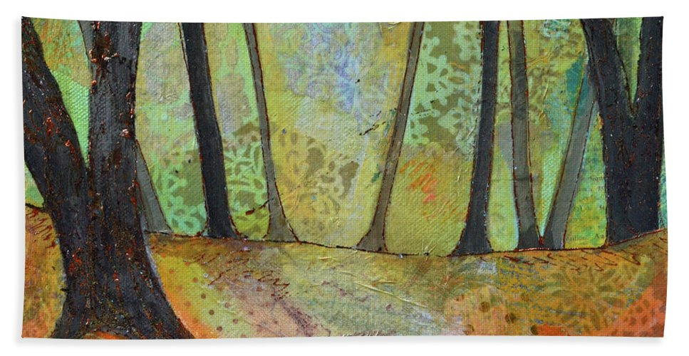 Autumn Beach Towel featuring the painting Autumn's Arrival I by Shadia Derbyshire
