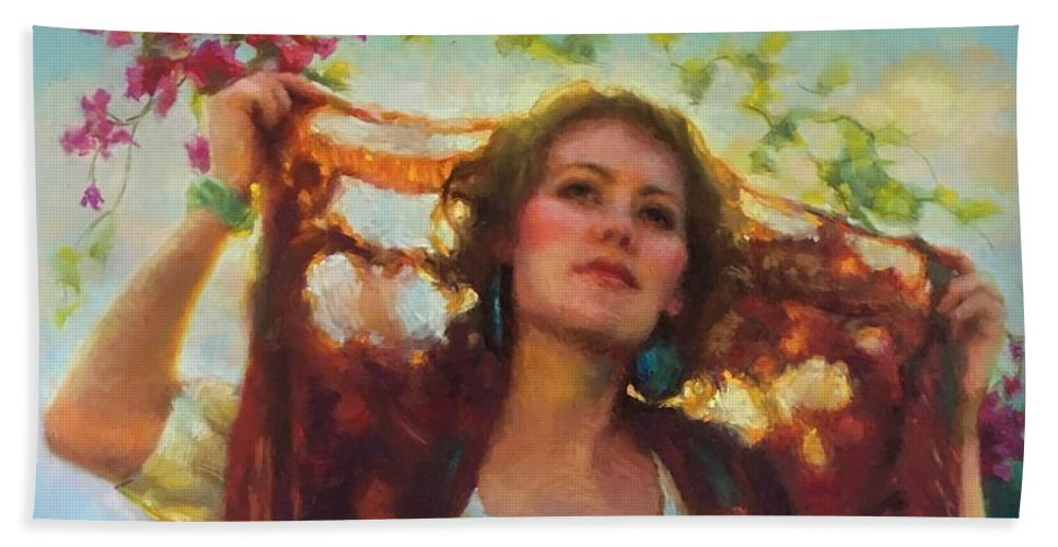 Beautiful Woman Beach Towel featuring the painting Awaken by Jean Hildebrant