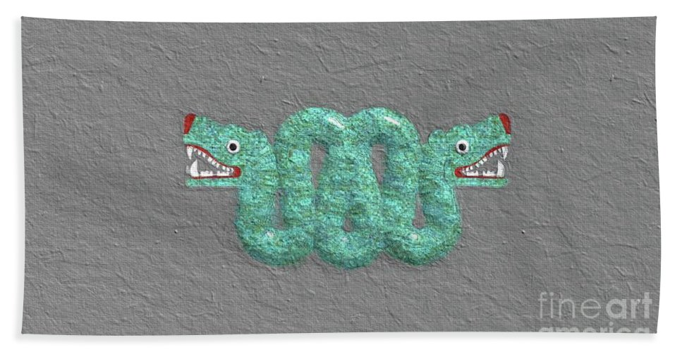 Aztec Beach Towel featuring the painting Aztec Serpent by Sarah Kirk