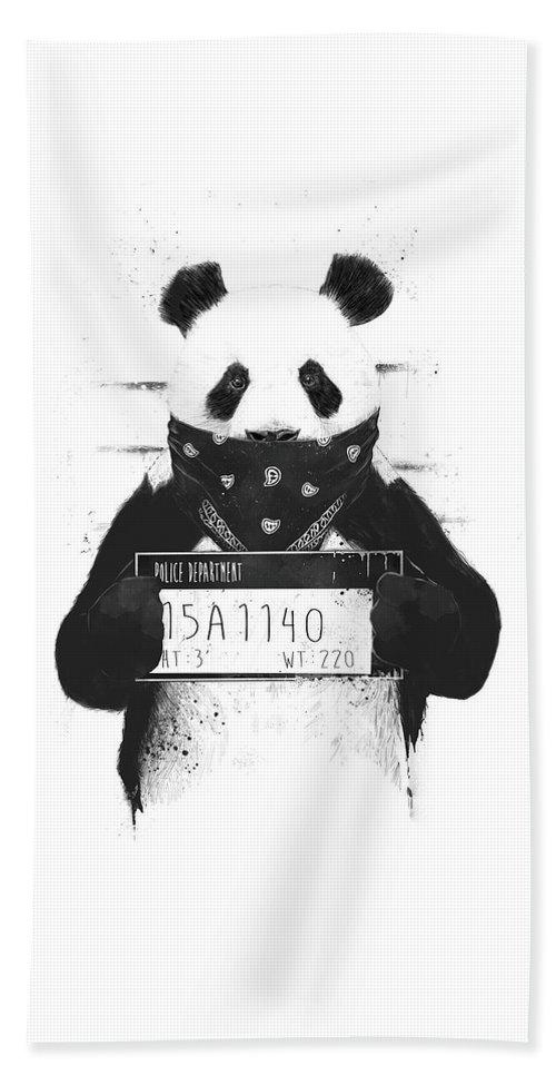 Panda Beach Towel featuring the drawing Bad panda by Balazs Solti