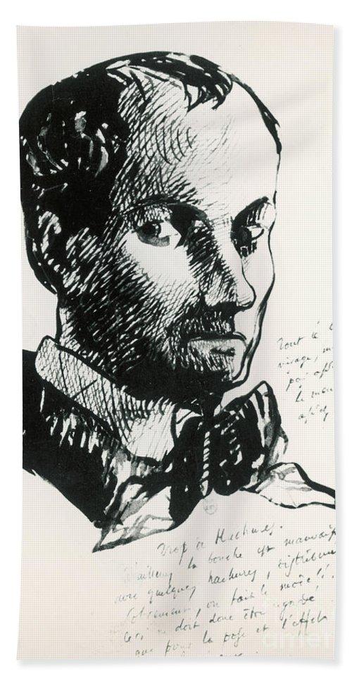 Self-portrait Beach Sheet featuring the drawing Baudelaire Self-portrait by Charles Baudelaire