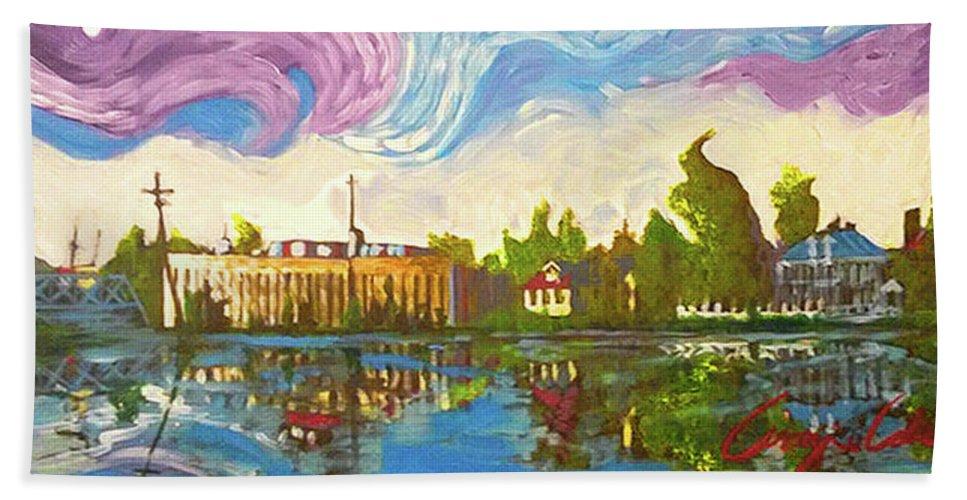 Bayou Saint John Beach Towel featuring the painting Bayou Saint John One by Amzie Adams