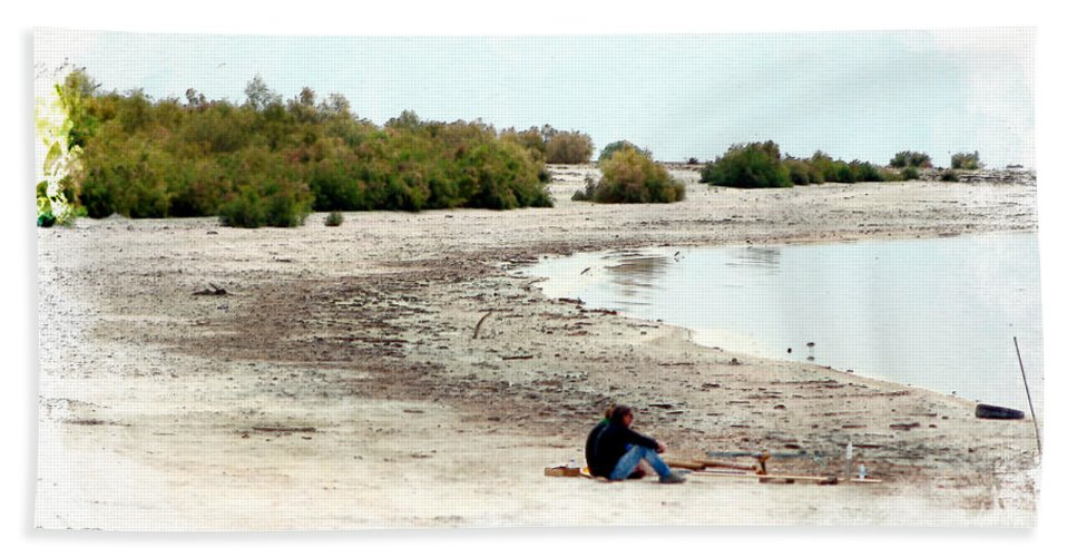 Watercolor Beach Towel featuring the photograph Beach Goers-The Salton Sea in Digital Watercolor by Colleen Cornelius
