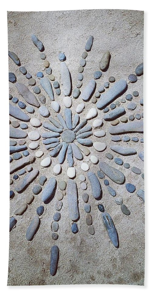 Beach Beach Towel featuring the sculpture Beach Mandala by Paola Baroni