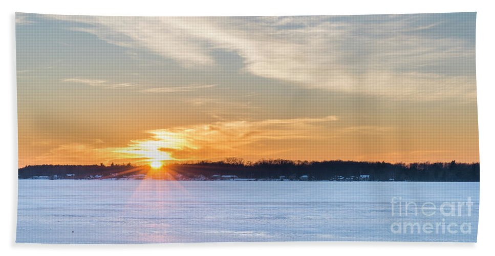 Bear Lake Beach Towel featuring the photograph Bear Lake Winter Sunset by Twenty Two North Photography