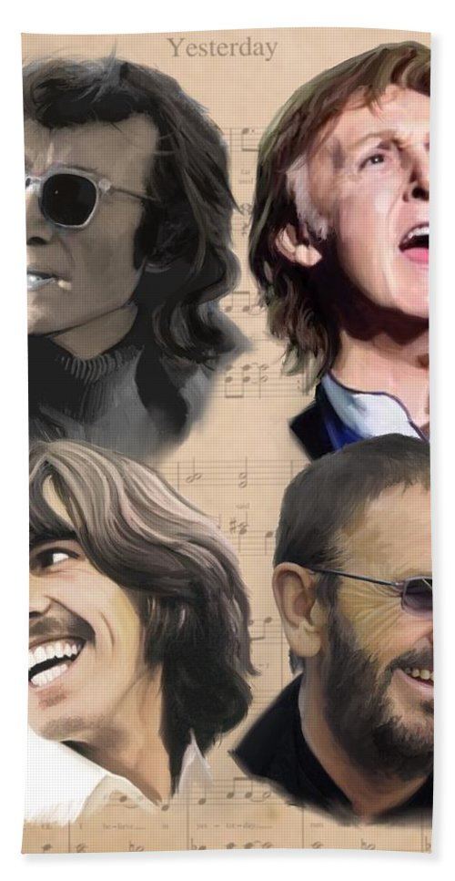 Beatles Beach Towel featuring the painting Beatles Yesterday by Paul Tag