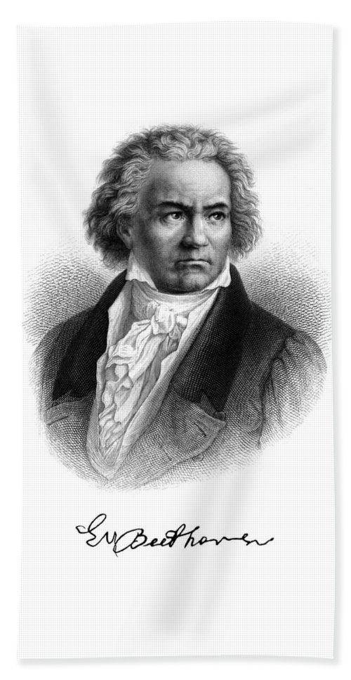 Beethoven Beach Towel featuring the painting Beethoven by Copperplate