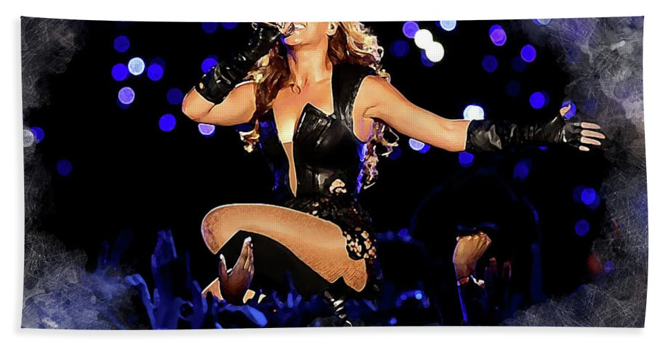 Beyonce Beach Towel featuring the digital art Beyonce #2 by Karl Knox Images