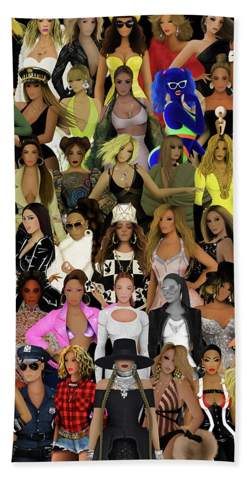 Beyonce Beach Sheet featuring the digital art Beyonce - Collage by Bo Kev