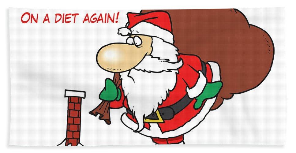 Big Beach Towel featuring the digital art Big Fat Santa And Tiny Chimney by Long Shot
