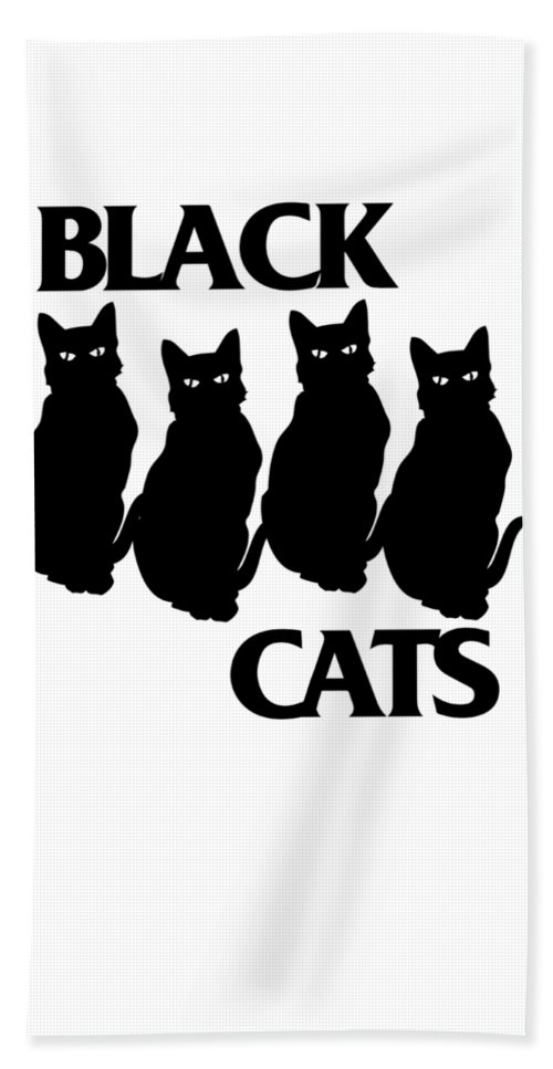 Black-cats Beach Towel featuring the digital art Black Cats by Passion Loft