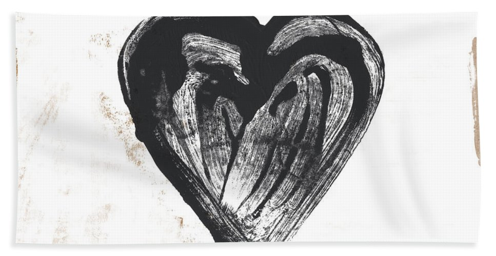 Heart Beach Towel featuring the mixed media Black Heart- Art By Linda Woods by Linda Woods