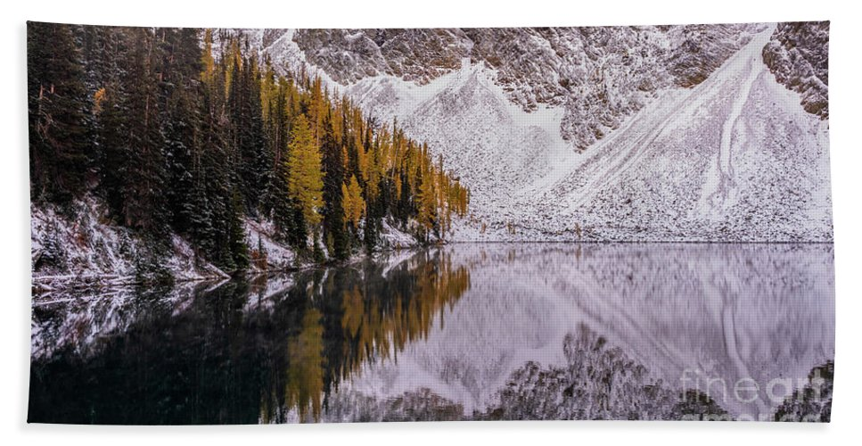Enchantments Beach Towel featuring the photograph Blue Lake Fall Symmetry by Mike Reid